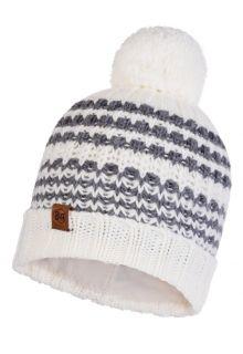 Buff---Gebreide-Polar-Muts-Kostik-met-pompom-voor-volwassenen---Wit/Grijs