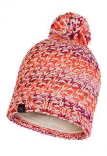 Buff---Gebreide-Polar-Muts-Valya-met-pompom-voor-volwassenen---Oranje/Multi