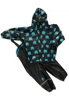 CeLaVi---Regenpak-met-Olifant-print-voor-kinderen--Zwart