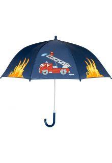 Playshoes---Kinder-paraplu-met-Brandweerauto---Donkerblauw