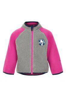 Color-Kids---Fleece-jasje-voor-baby's---Colorblock---Grijs/Roze