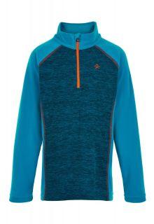 Color-Kids---Fleece-pullover-met-halve-rits-voor-jongens---Melange---Lichtblauw