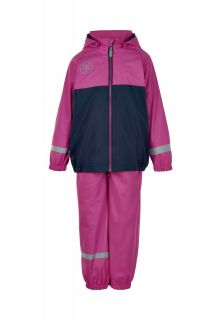 Color-Kids---Regenpak-met-fleece-voor-meisjes---Colorblock---Roze