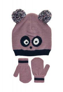 Color-Kids---Beanie-en-wanten-set-voor-babymeisjes---Panda---Elderberry