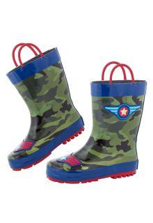 Stephen-Joseph---Regenlaarzen-voor-jongens---Piloot---Camouflage-groen/donkerblauw