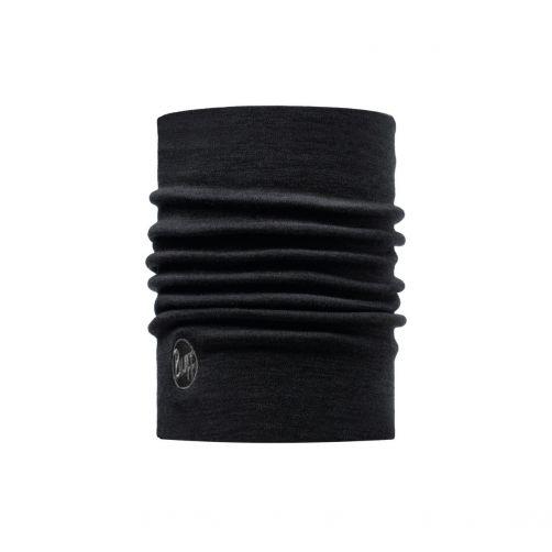 Buff---Twee-laags-merinowollen-Nekwarmer-Solid-voor-volwassenen---Zwart
