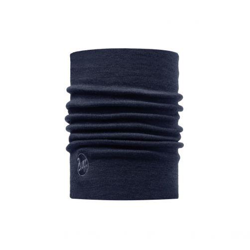 Buff---Twee-laags-merinowollen-Nekwarmer-Solid-voor-volwassenen---Denimblauw