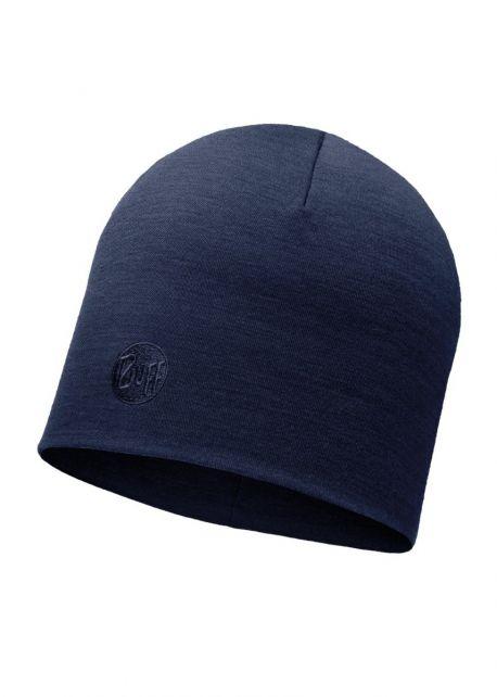 Buff---Twee-laags-merinowollen-Muts-Solid-voor-volwassenen---Regular-fit---Denimblauw