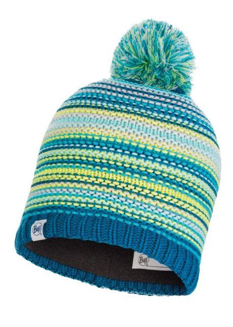 Buff---Gebreide-Polar-Muts-Amity-met-pompom-voor-kinderen---Turquoise/Multi