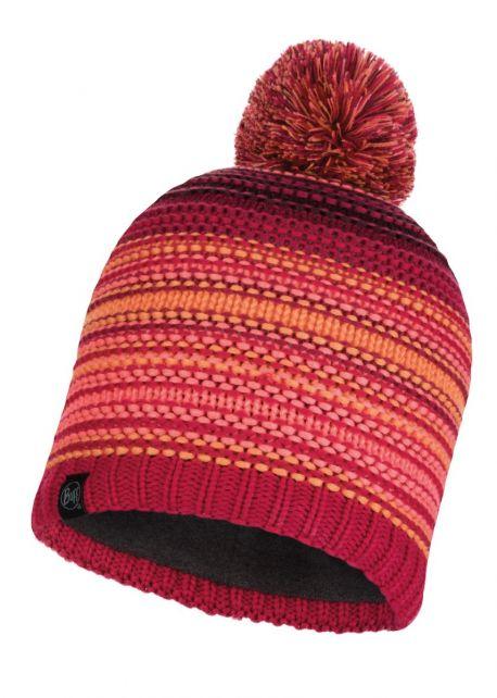 Buff---Gebreide-Polar-Muts-Neper-met-pompom-voor-volwassenen---Rood/Roze