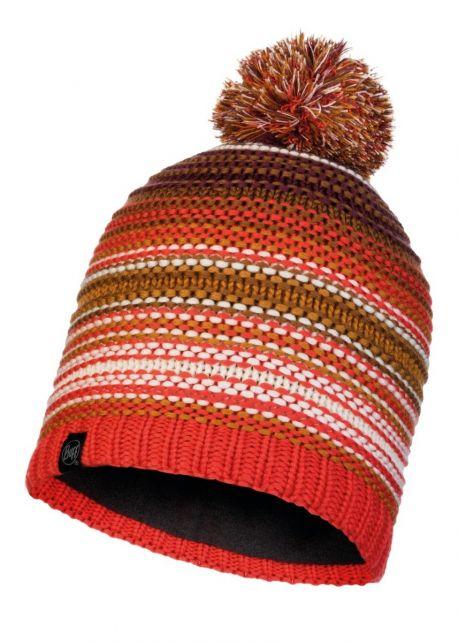 Buff---Gebreide-Polar-Muts-Neper-met-pompom-voor-volwassenen---Oranje/Bruin
