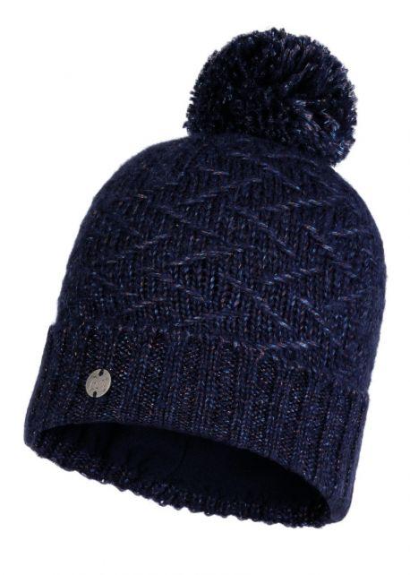 Buff---Gebreide-Polar-Muts-Ebba-met-pompom-voor-volwassenen---Nachtblauw