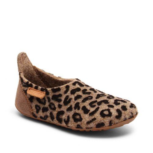Bisgaard---Pantoffels-voor-baby's---Basic-wool---Luipaard-bruin