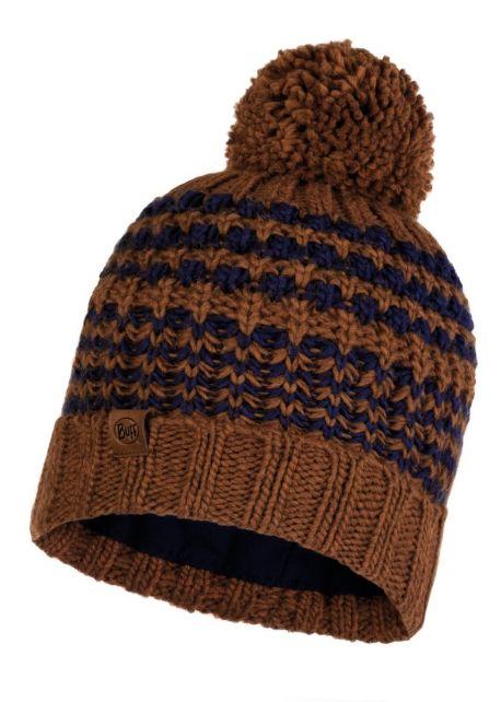 Buff---Gebreide-Polar-Muts-Kostik-met-pompom-voor-volwassenen---Bruin/Nachtblauw