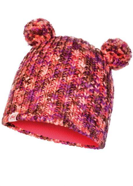 Buff---Gebreide-Muts-Lera-met-pompoms-voor-kinderen---Roze/Multi