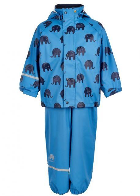 CeLaVi---Regenpak-met-Olifant-print-voor-kinderen---Blauw