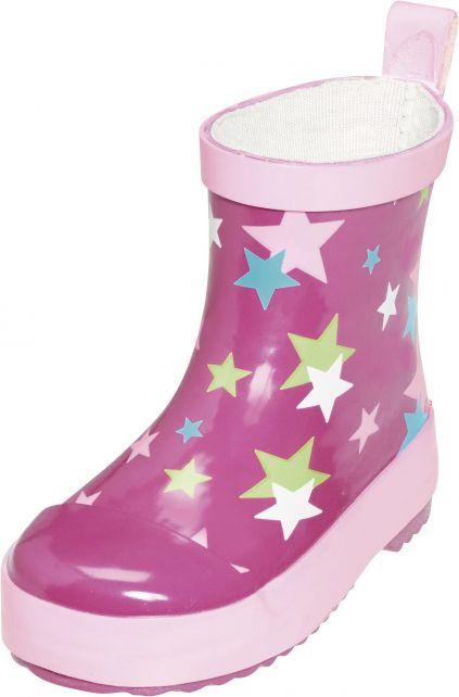 Playshoes---Korte-regenlaarsjes---Roze-met-sterren