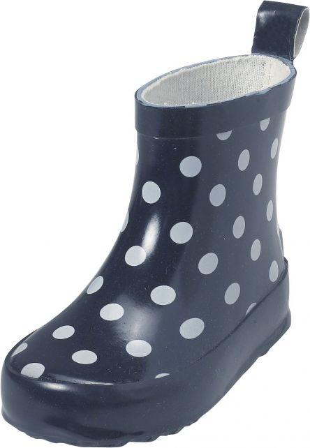 Playshoes---Korte-regenlaarsjes---Donkerblauw-met-stippen