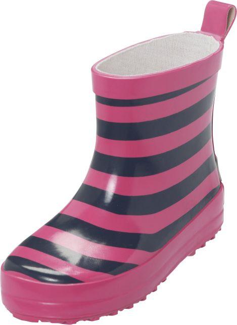 Playshoes---Korte-regenlaarsjes---Roze/Blauw-gestreept