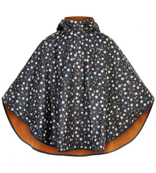 CeLaVi---Regencape-met-fleece-voor-meisjes---Bloemen---Donkerblauw