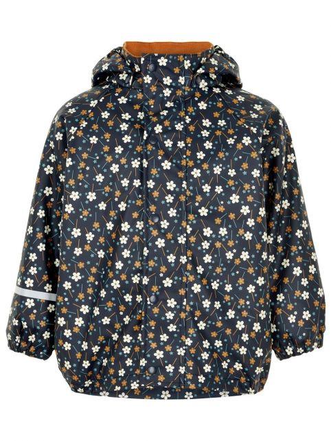 CeLaVi---Regenjas-met-fleece-voor-meisjes---Bloemen---Donkerblauw