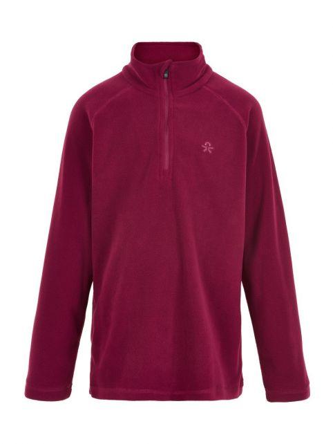 Color-Kids---Fleece-pullover-met-halve-rits-voor-kinderen---Effen---Donkerrood
