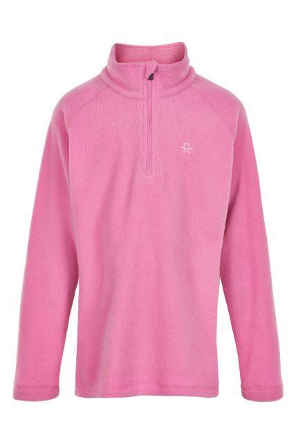 Color-Kids---Fleece-pullover-met-halve-rits-voor-meisjes---Effen---Fuchsia-roze