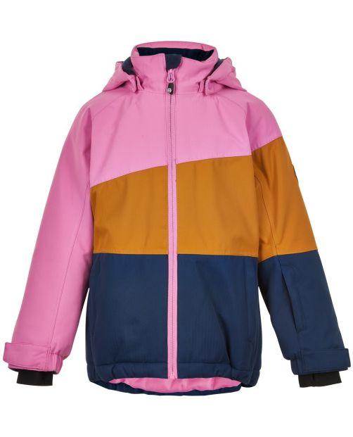 Color-Kids---Ski-jas-voor-meisjes---Colorblock---Roze/Honing/Donkerblauw