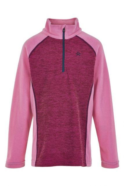 Color-Kids---Fleece-pullover-met-halve-rits-voor-meisjes---Melange---Fuchsia-roze