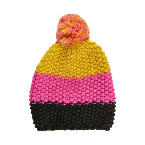 Color-Kids---Beanie-met-pompom-voor-kinderen---Colorblock---Fel-roze