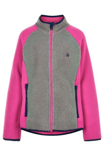 Color-Kids---Fleece-jas-voor-meisjes---Colorblock---Grijs/Roze