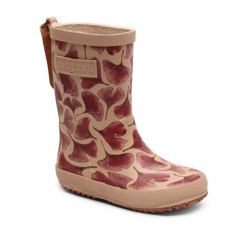 Bisgaard---Regenlaarzen-voor-kinderen---Fashion---Bordeauxrood-bladeren