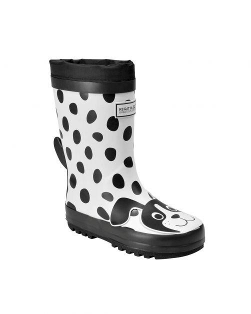 Regatta---Regenlaarzen-voor-kinderen---Mudplay---Hond---Wit/Zwart