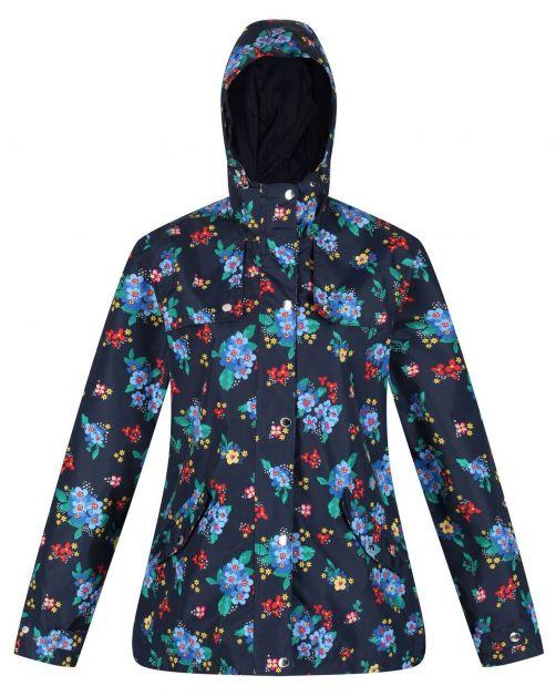 Regatta---Waterdichte-regenjas-voor-dames---Bertille---Marineblauw/Bloemen