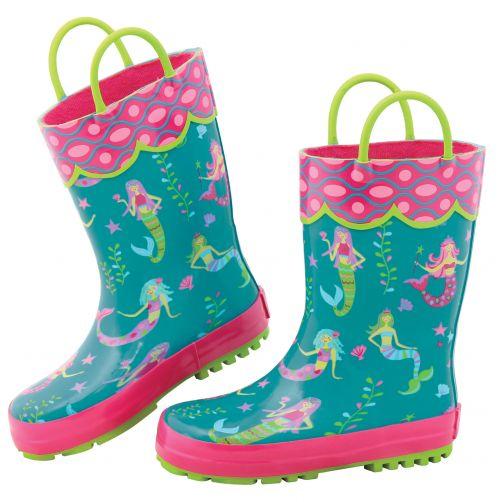 Stephen-Joseph---Regenlaarzen-voor-meisjes---Zeemeermin---Turquoise/Pink