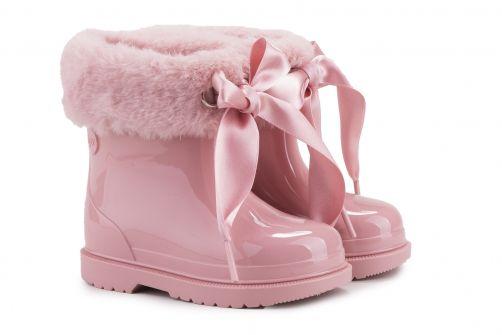 Igor---Regenlaarzen-voor-meisje---Bimbi-Soft-hoogglans-met-strik---Roze