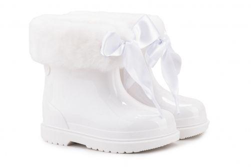 Igor---Regenlaarzen-voor-meisje---Bimbi-Soft-hoogglans-met-strik---Wit