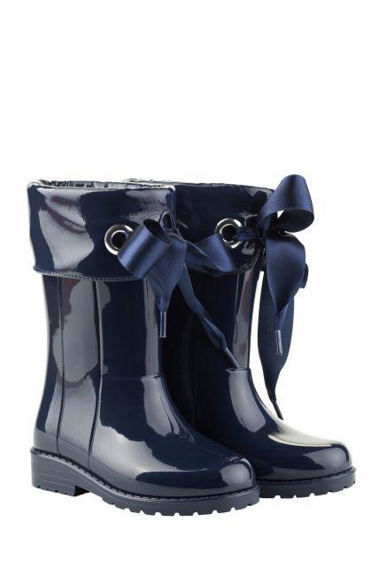 Igor---Regenlaarzen-voor-meisjes---Campera-Charol-hoogglans-met-strik---Marineblauw
