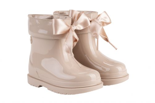 Igor---Regenlaarzen-voor-meisjes---Bimbi-Lazo-hoogglans-met-strik---Beige