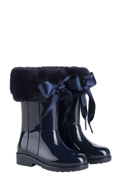 Igor---Regenlaarzen-voor-meisjes---Campera-Charol-Soft-hoogglans-met-strik---Marineblauw
