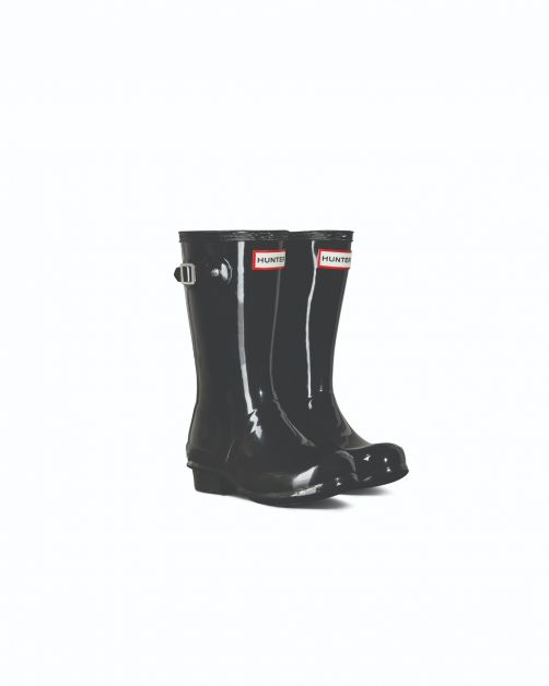 Hunter---Rainboots-for-girls---Original-Kids-Gloss-Wellington---Black