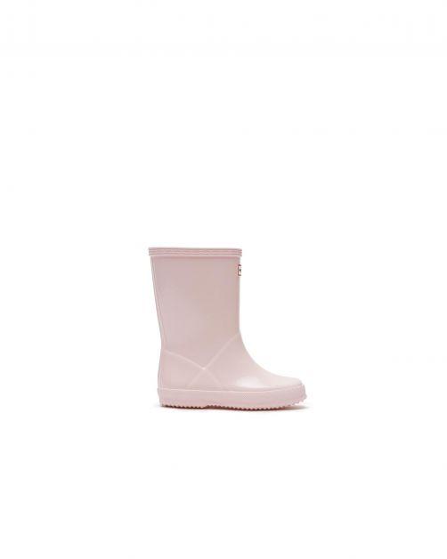 Hunter---Rainboots-for-children---Kids-First-Classic-Gloss---Black-Salt-Pink